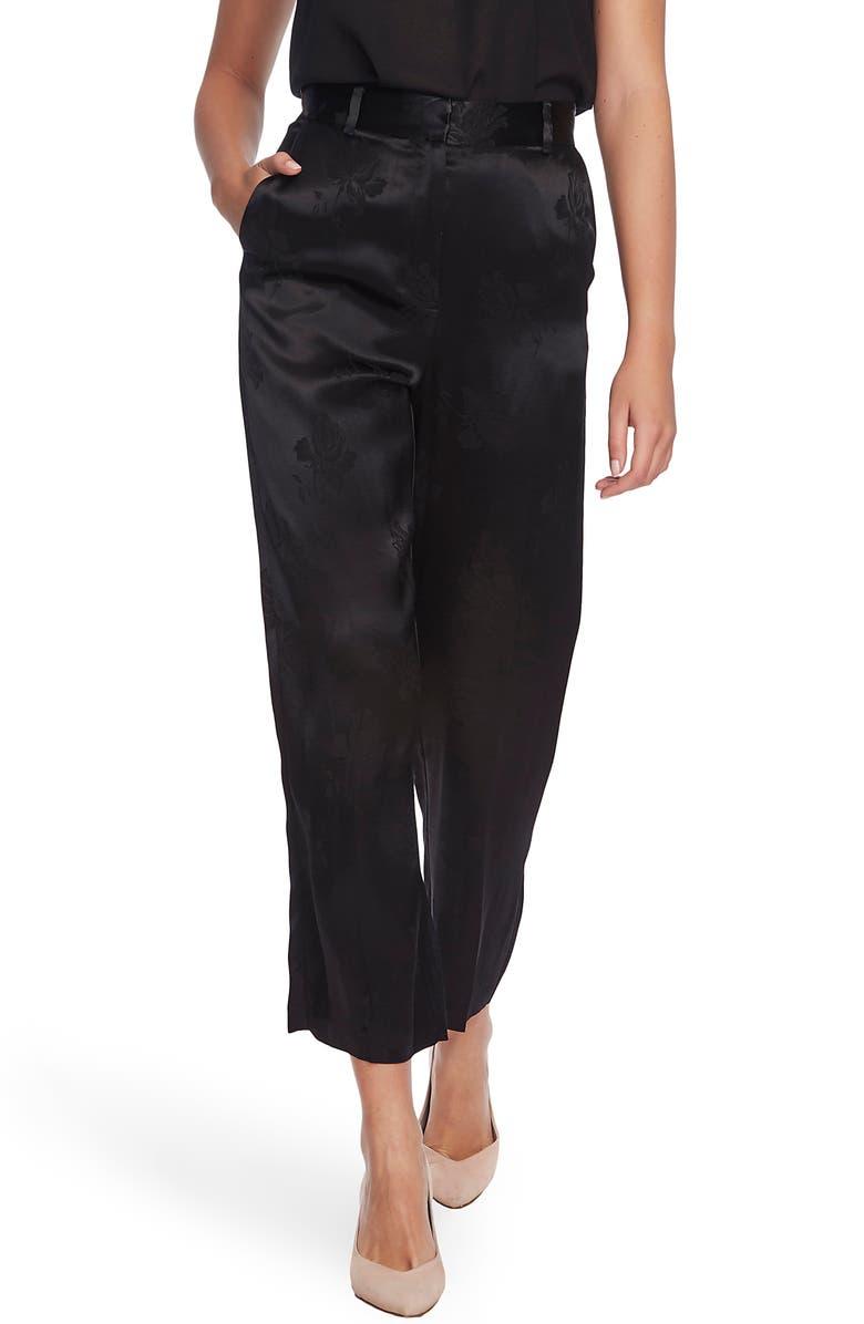 1.STATE Floral Jacquard Wide Leg Pants, Main, color, RICH BLACK