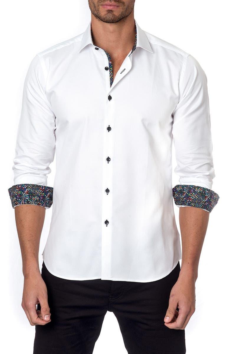 JARED LANG Trim Fit Textured Sport Shirt, Main, color, 100