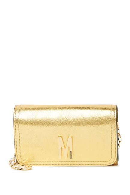 Image of MOSCHINO Metallic Flap Crossbody Bag