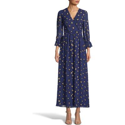 Tahari Leopard Print Faux Wrap Chiffon Maxi Dress, Blue