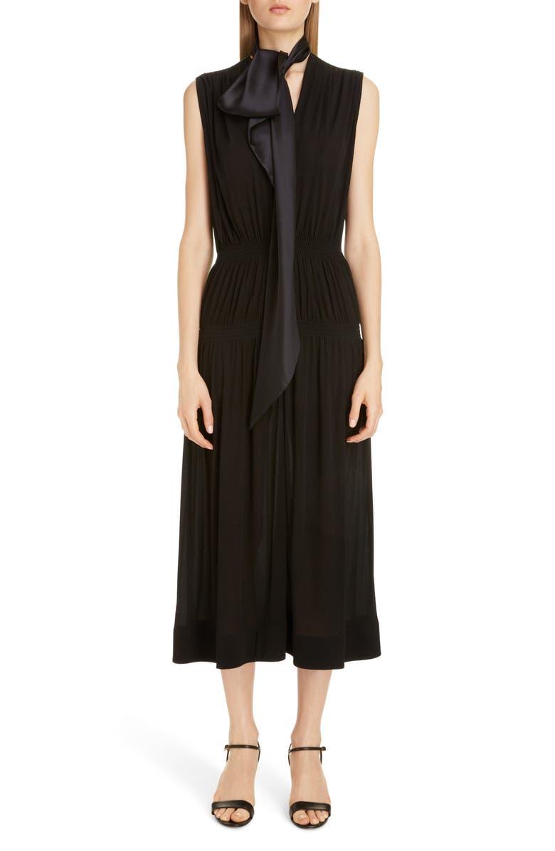 GIVENCHY Colorblock Tie Neck Midi Dress, Main, color, BLACK/ GREEN