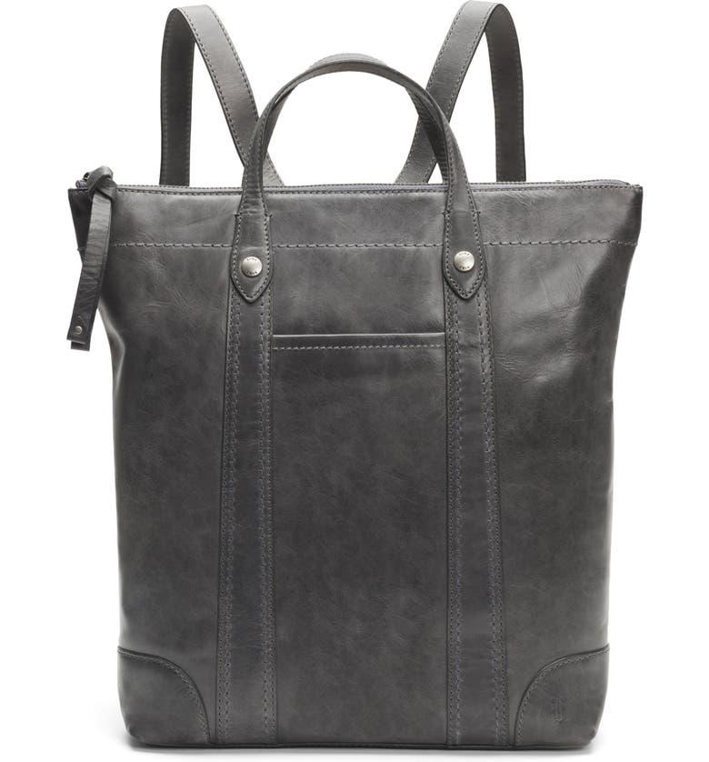 FRYE Melissa Zip Leather Backpack, Main, color, CARBON