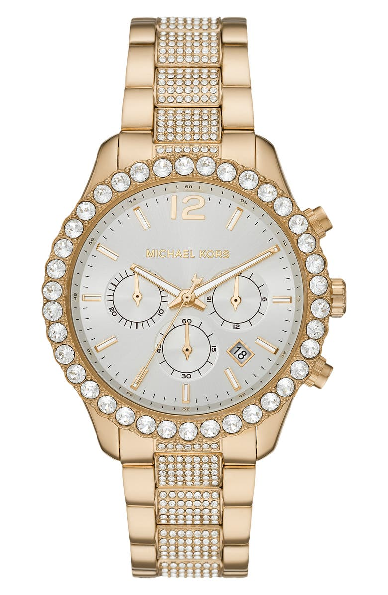MICHAEL KORS Layton Pavé Chronograph Bracelet Watch, 42mm, Main, color, GOLD/ WHITE/ GOLD