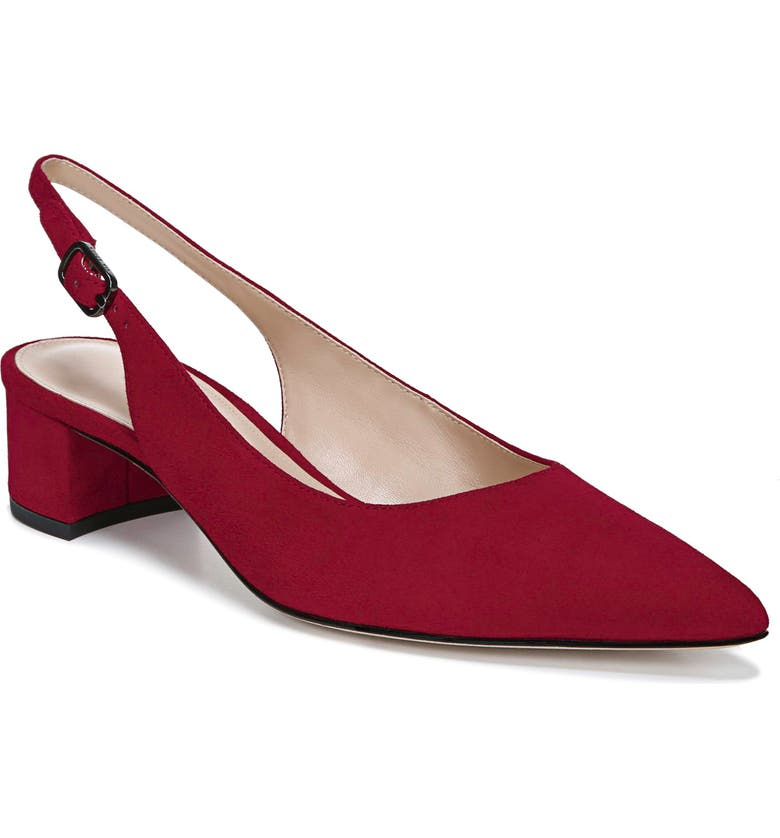 VIA SPIGA Giana Slingback Pointed Toe Pump, Main, color, CERISE SUEDE