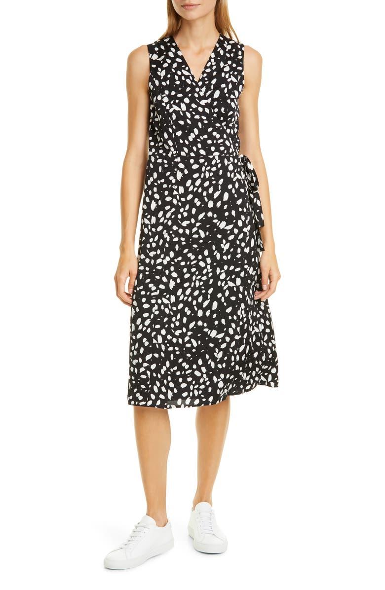 NORDSTROM SIGNATURE Silk Blend Wrap Dress, Main, color, BLACK- IVORY DOT MARKS