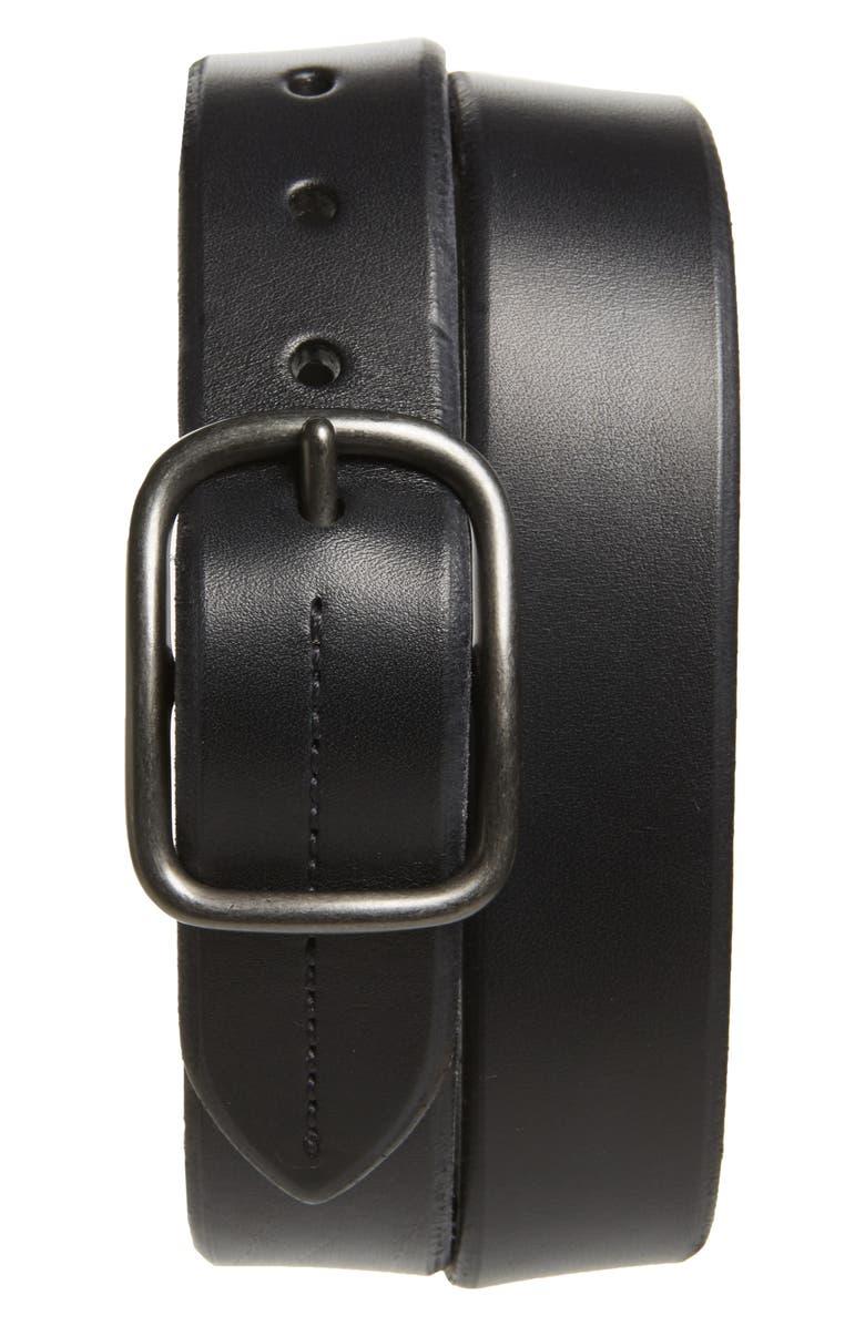 SHINOLA Leather Belt, Main, color, 001