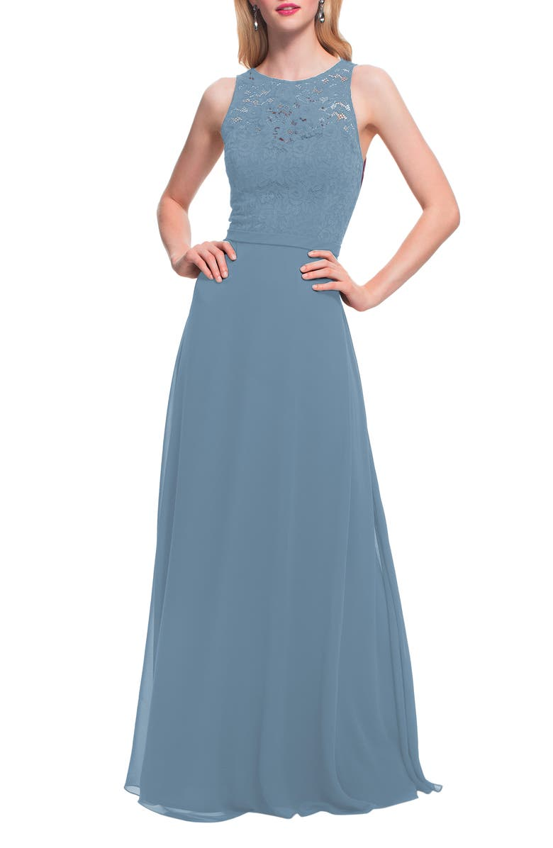 #LEVKOFF Lace Bodice Chiffon Gown, Main, color, SLATE