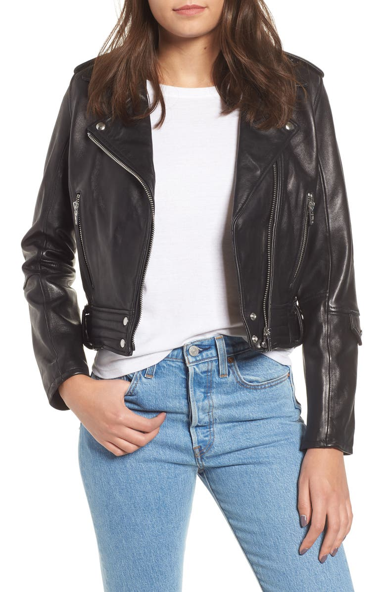 BLANKNYC Real Leather Moto Jacket, Main, color, 001