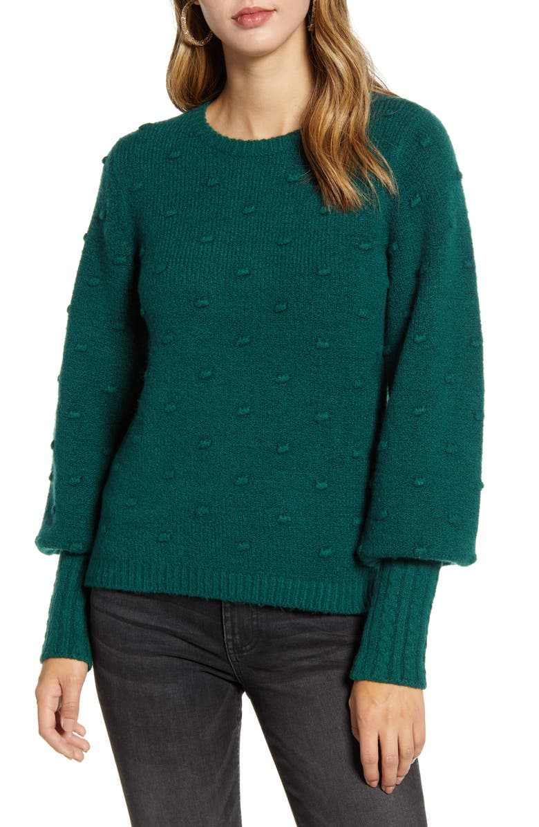 RACHEL PARCELL Rachell Parcell Bobble Stitch Sweater, Main, color, GREEN BOTANICAL