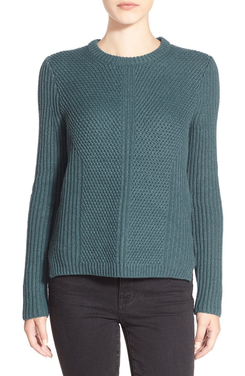 MADEWELL 'Holcomb' Texture Sweater, Main, color, HEATHER SPRUCE