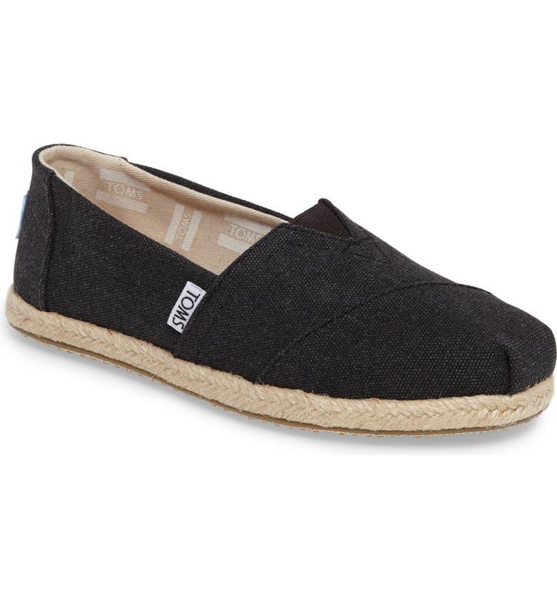 TOMS Espadrille Slip-On, Main, color, BLACK