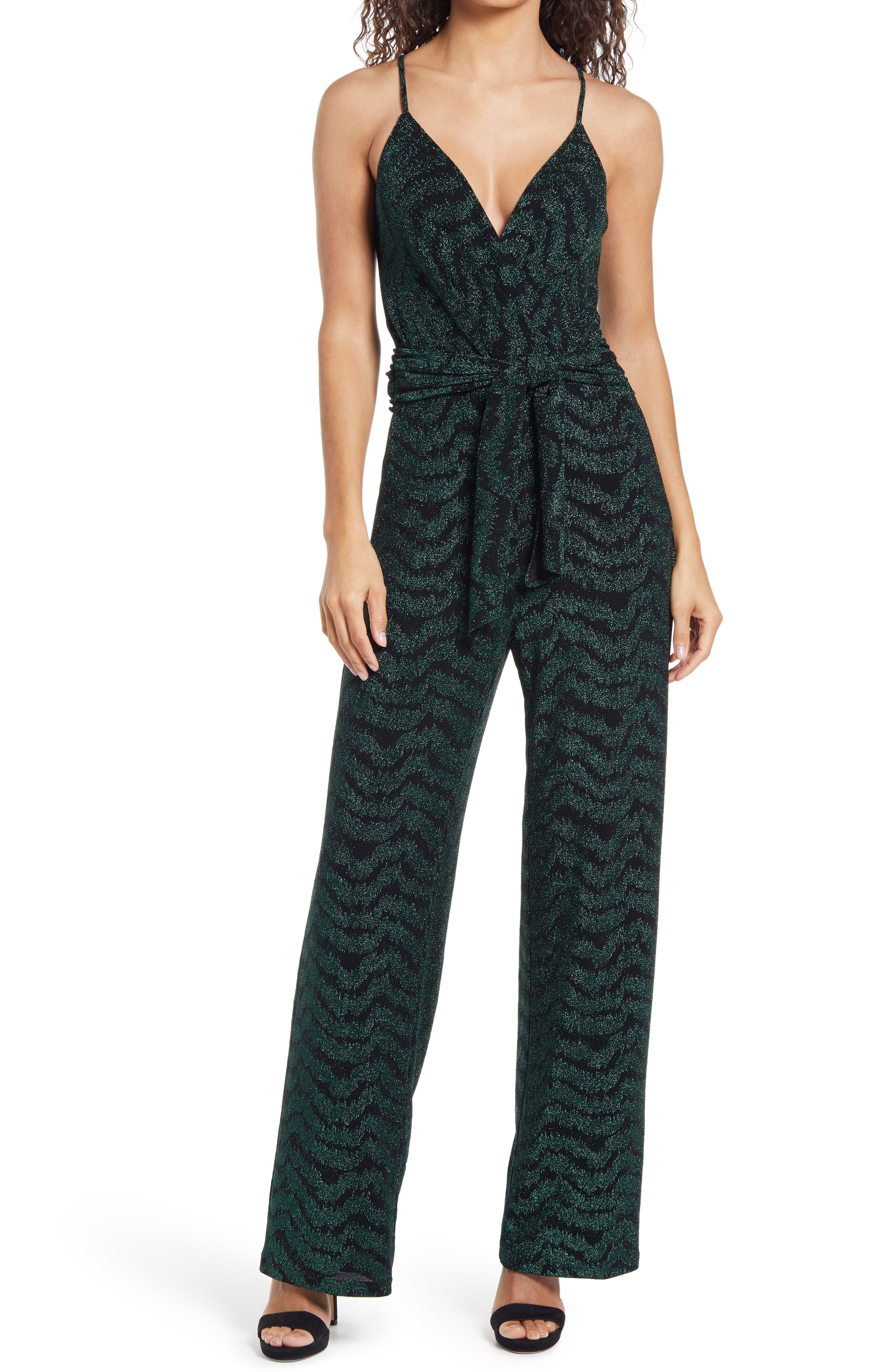 Image of Saylor Ediola Jacquard Sleeveless Jumpsuit