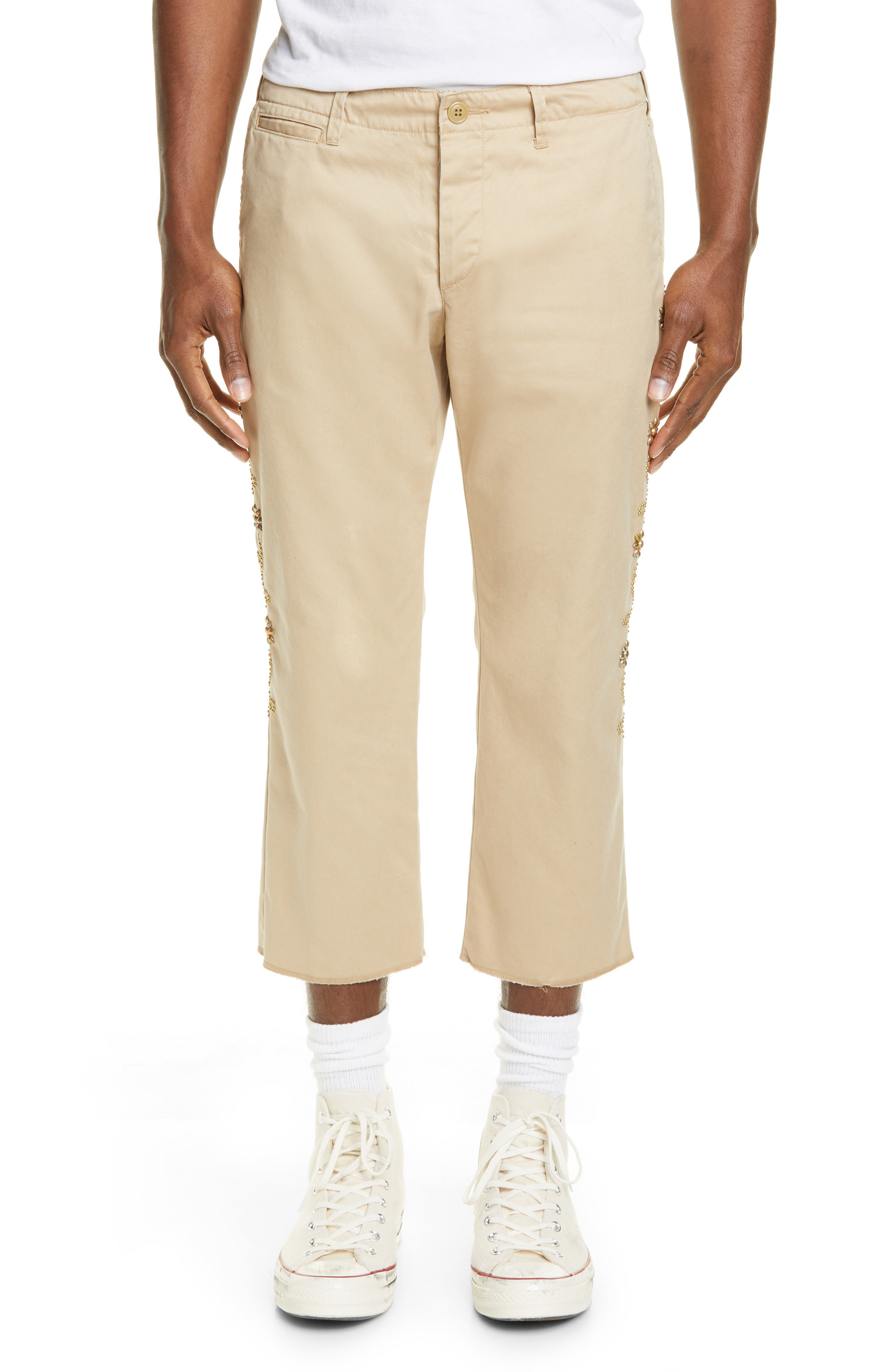 Remi Relief Flower Stud Chino Pants, Beige