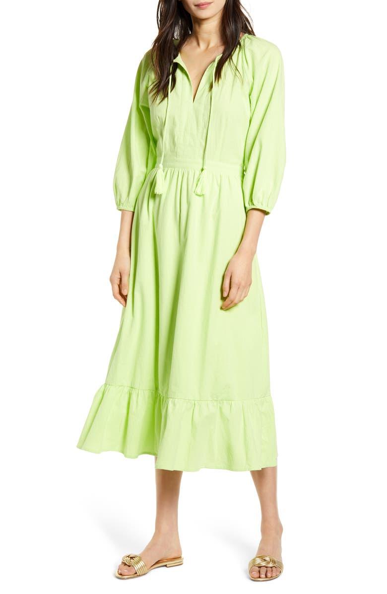 LOST + WANDER Stevie Midi Dress, Main, color, LIME