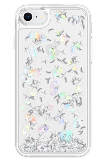 Rebecca Minkoff Galaxy Icon Glitterfall Iphone 7/8 & 7/8 Plus Case In Holographic/ Clear