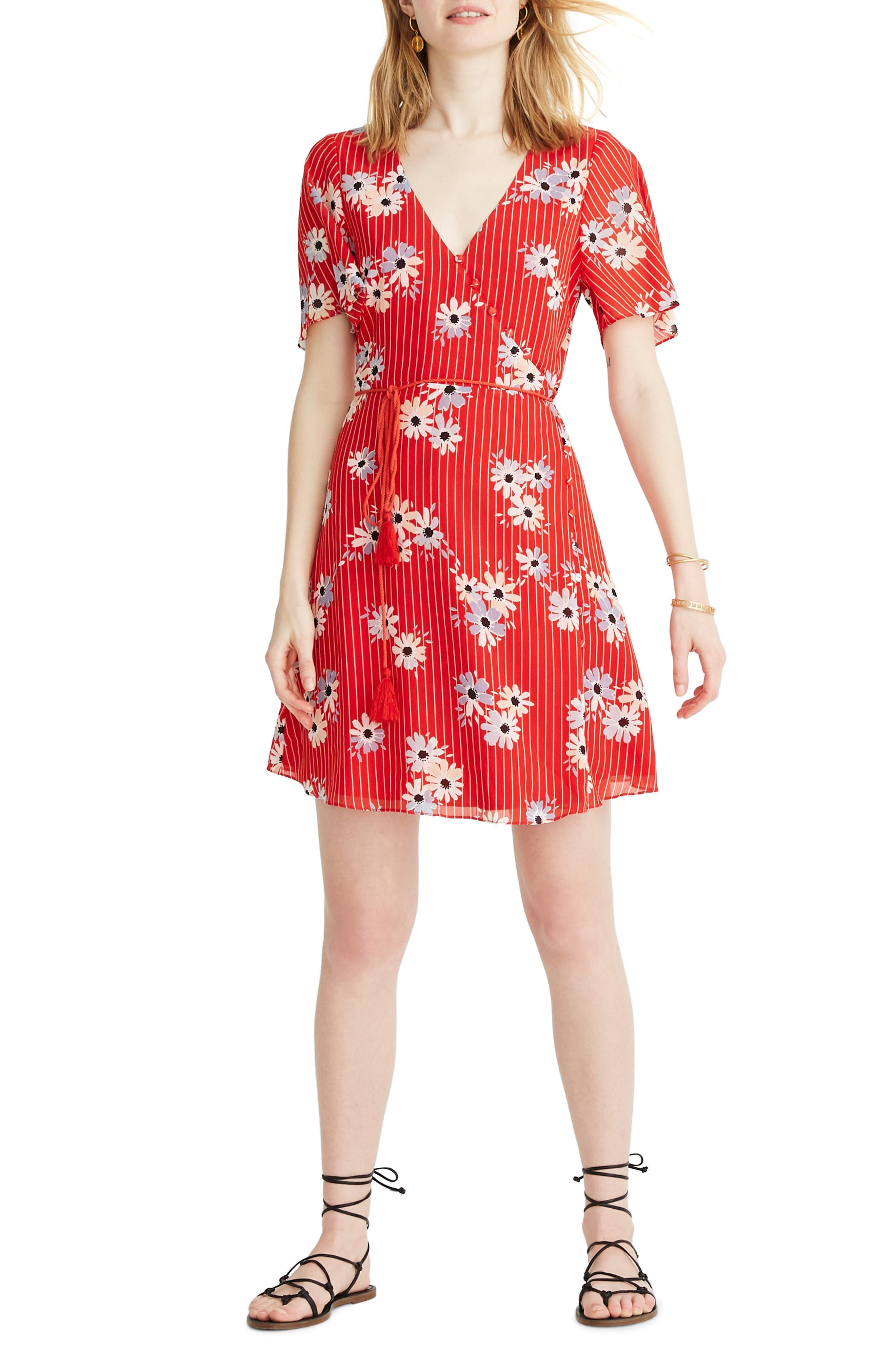 Madewell Daisy Society Button Faux Wrap Dress, Red