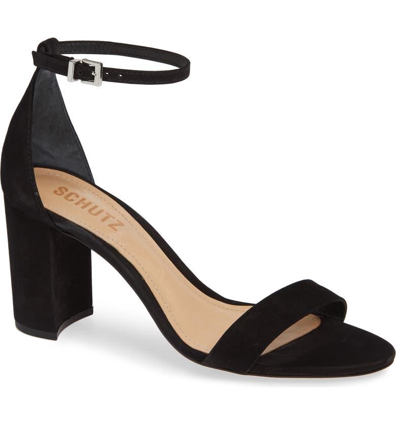 SCHUTZ Anna Lee Ankle Strap Sandal, Main, color, BLACK NUBUCK LEATHER