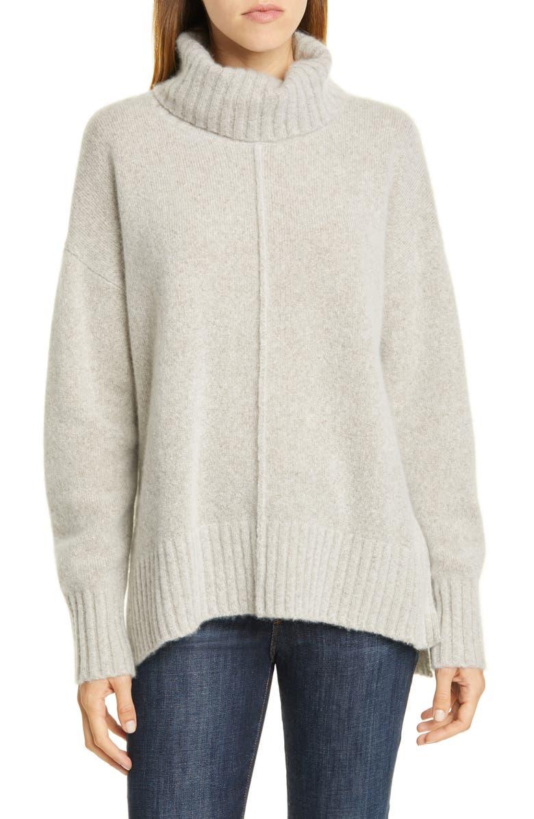 NORDSTROM SIGNATURE Cashmere Bouclé Turtleneck Sweater, Main, color, BEIGE PUMICE HEATHER