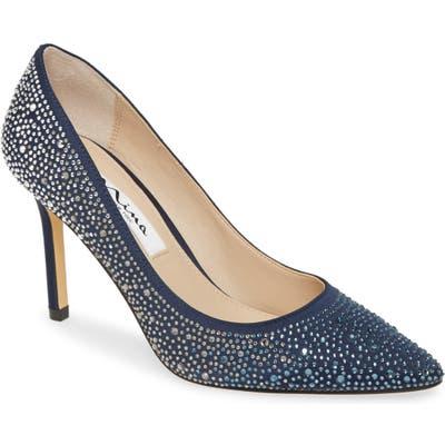 Nina Nickie 2 Crystal Studded Pointy Toe Pump, Blue