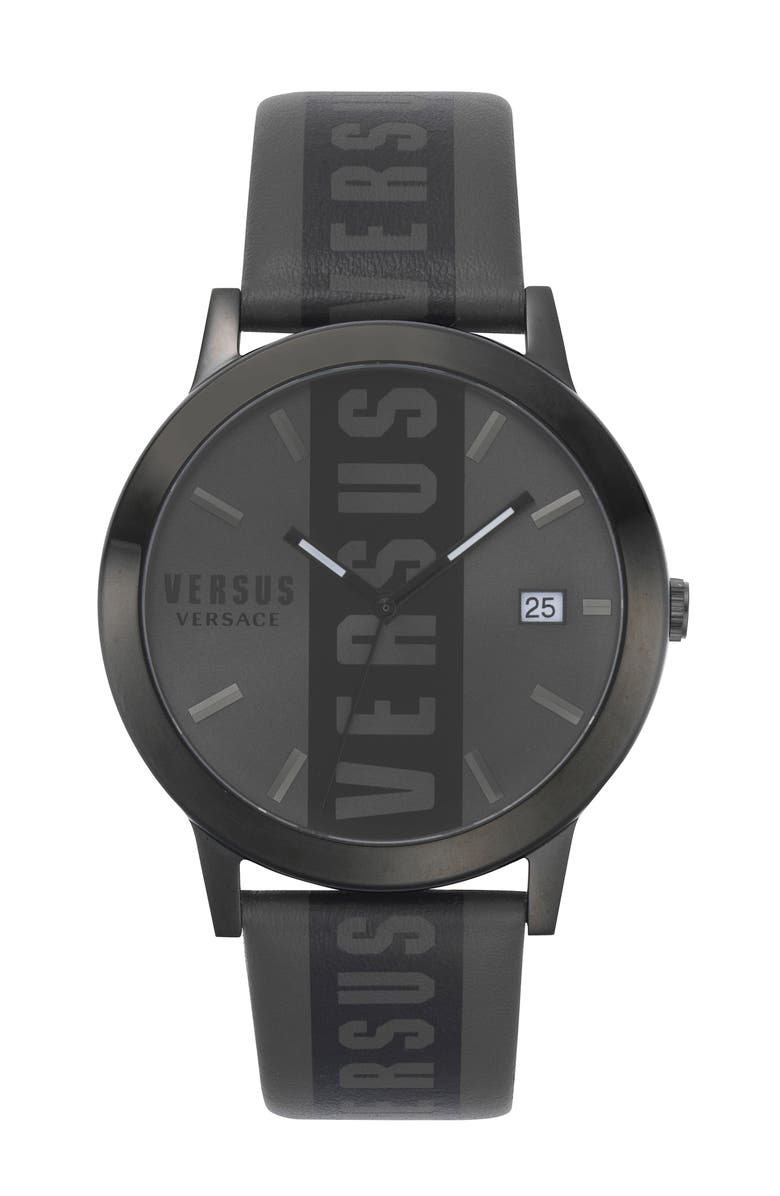 VERSUS VERSACE Barbes Logo Leather Strap Watch, 44mm, Main, color, 001