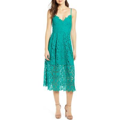 Astr The Label Lace Midi Dress, Green