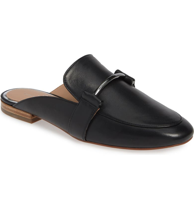 LINEA PAOLO Annette Loafer Mule, Main, color, BLACK LEATHER
