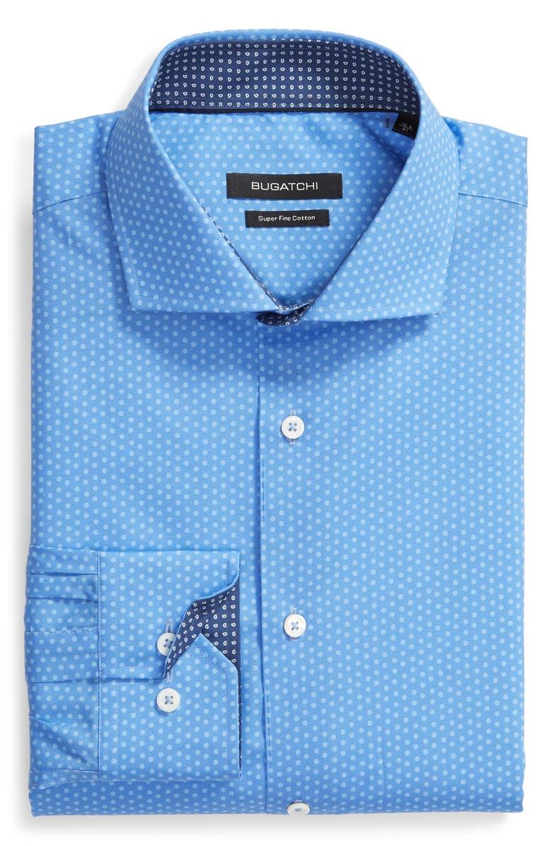 BUGATCHI Shaped Fit Dot Dress Shirt, Main, color, 420