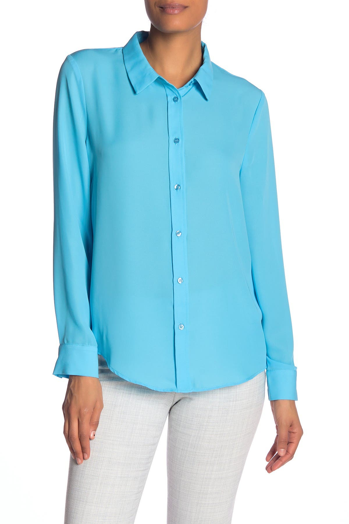 Laundry By Shelli Segal Solid Button Front Tunic Shirt Nordstrom Rack