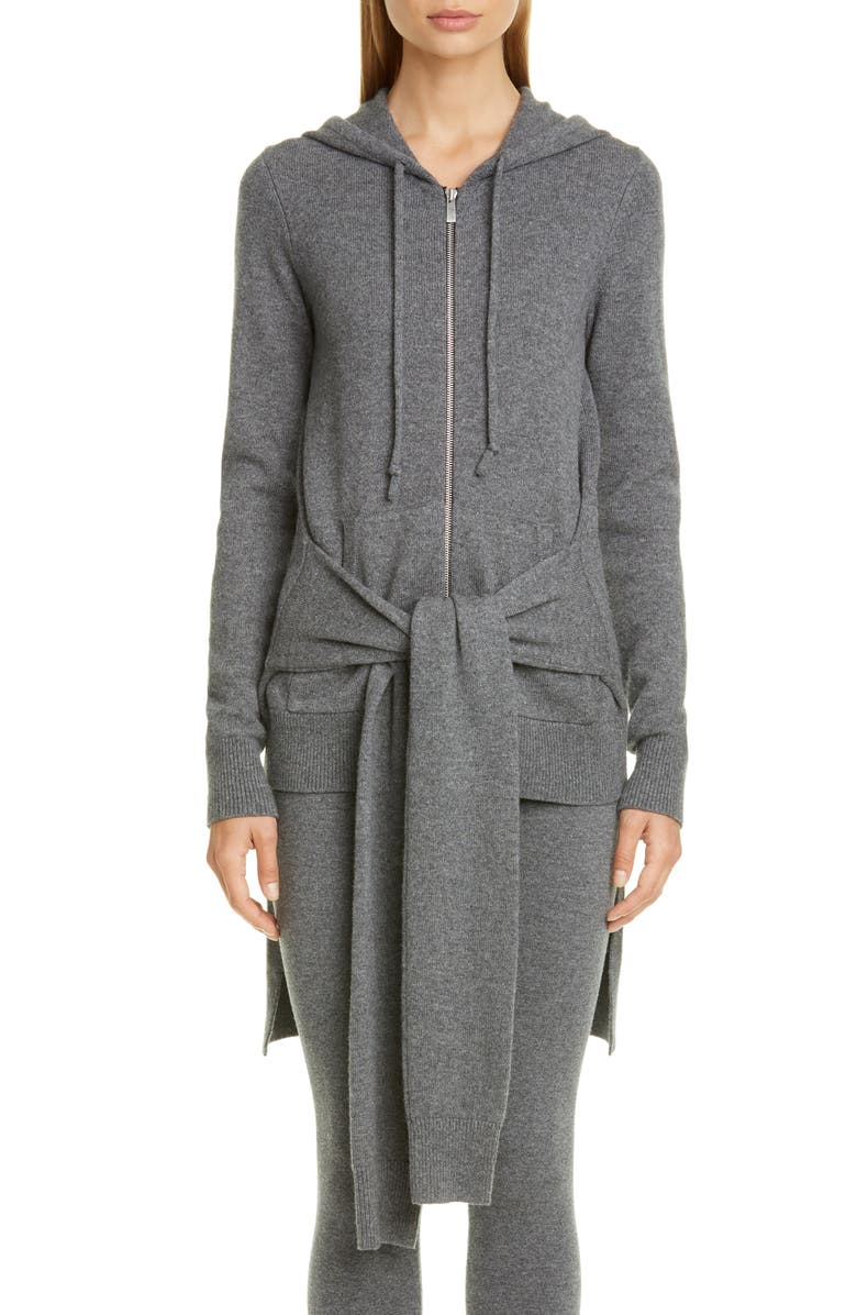 MICHAEL KORS COLLECTION Michael Kors Tie Waist Cashmere Hoodie, Main, color, BANKER MELANGE