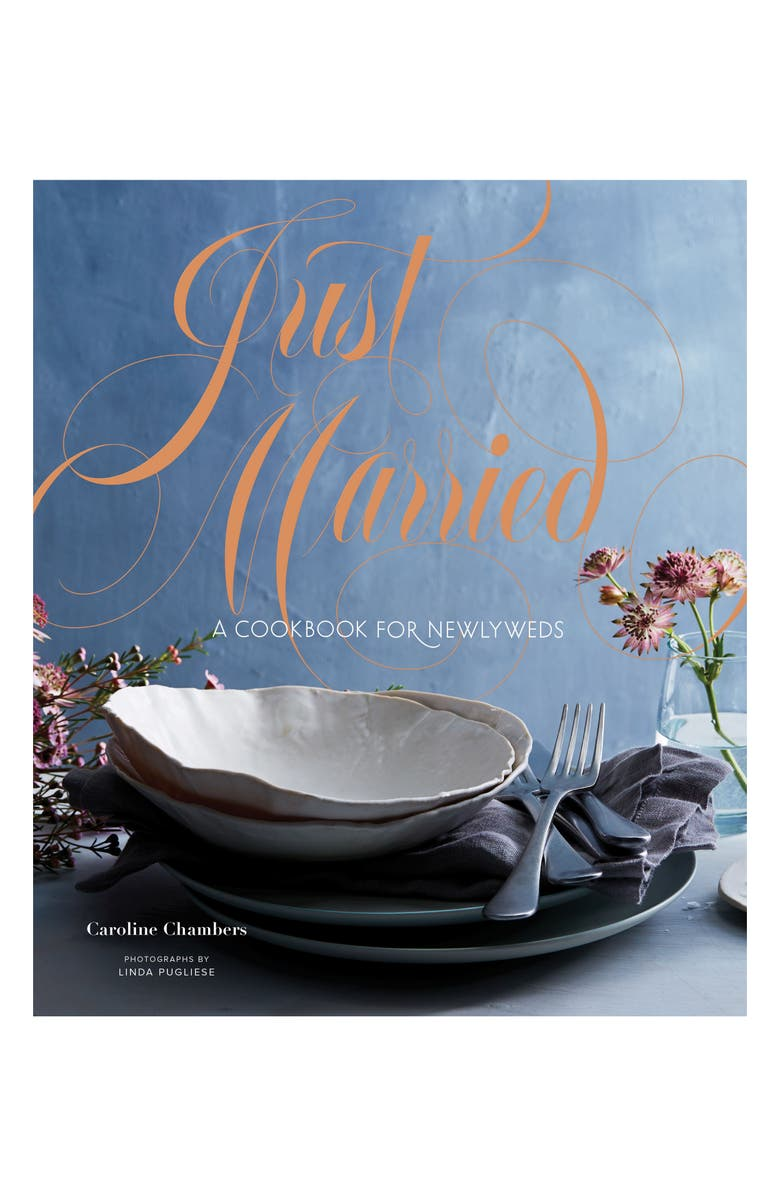CHRONICLE BOOKS 'Just Married: A Cookbook for Newlyweds' Cookbook, Main, color, BLUE