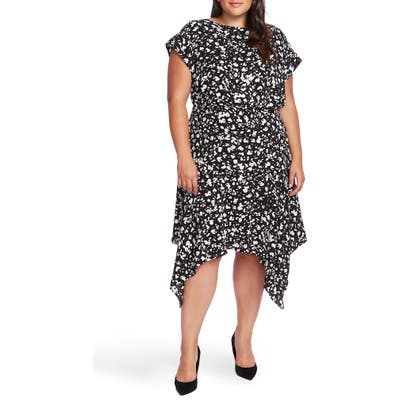 Plus Size Vince Camuto Print Handkerchief Hem Dress, Black