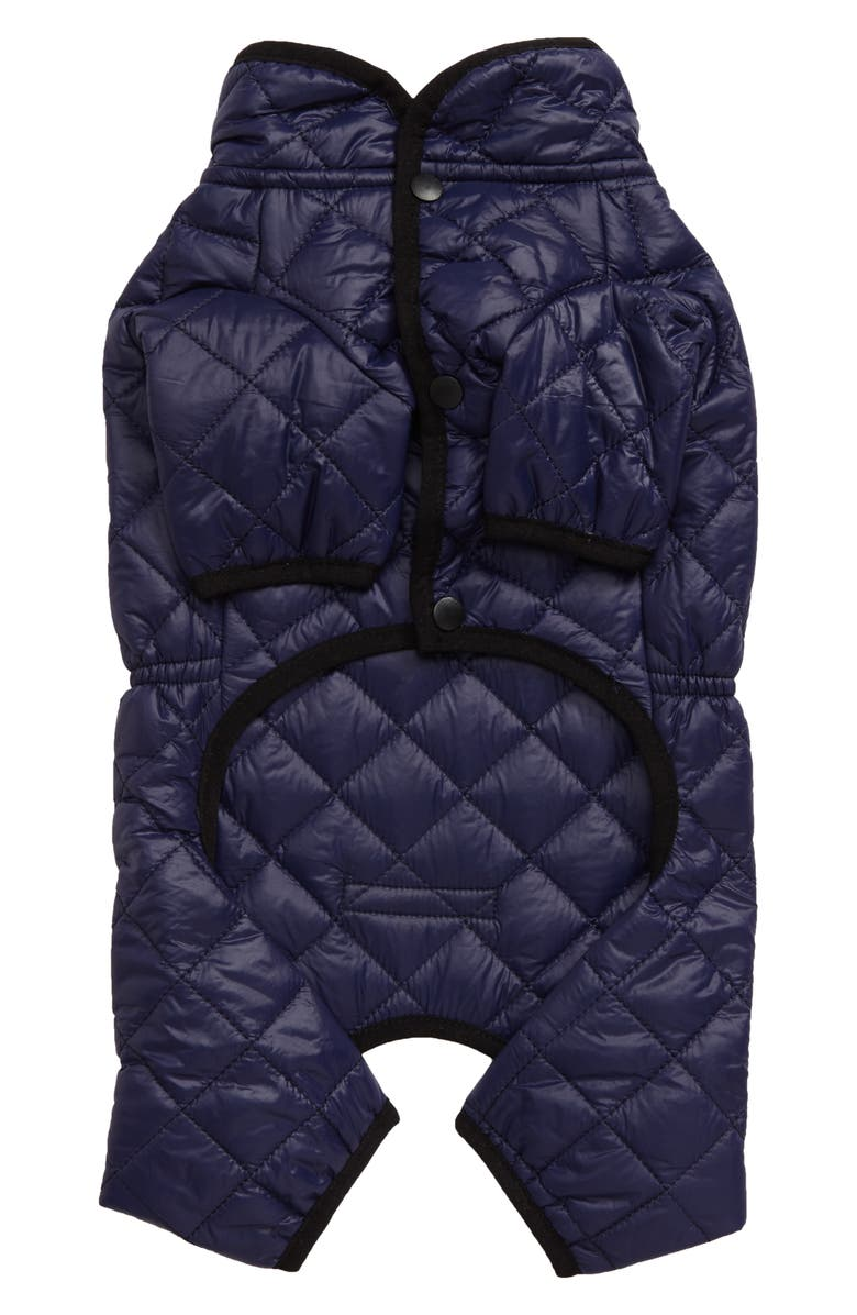 LOVETHYBEAST Quilted Puffer Dog Snow Suit, Main, color, NAVY