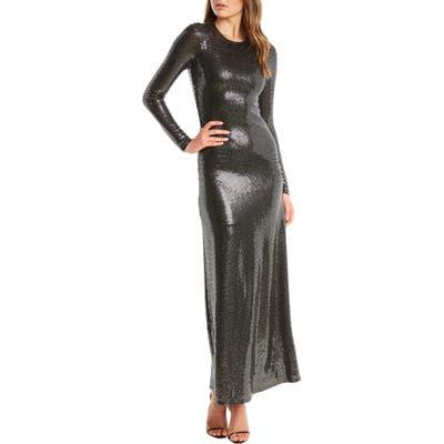 Bardot Mirror Sequin Long Sleeve Gown, Metallic