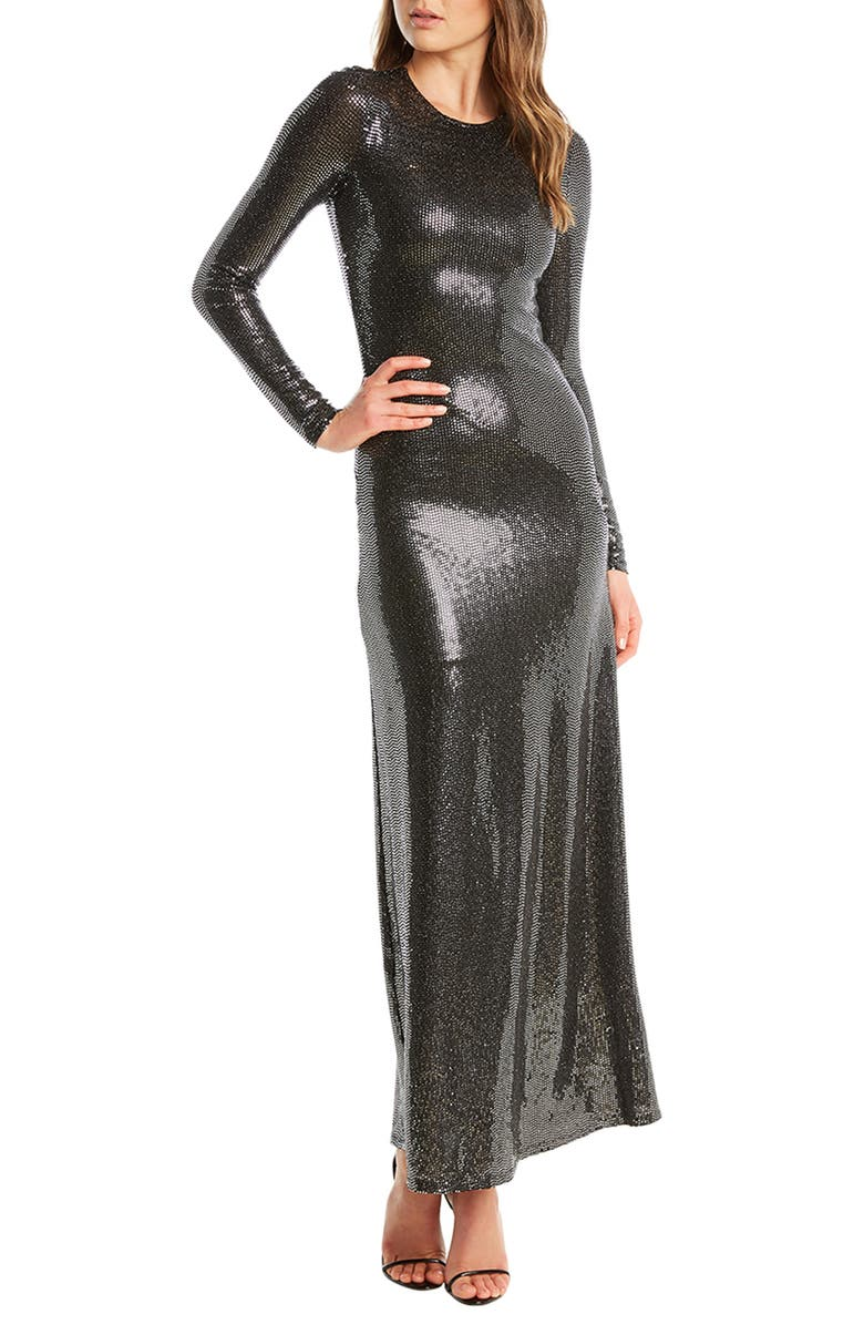 BARDOT Mirror Sequin Long Sleeve Gown, Main, color, SILVER SEQUIN