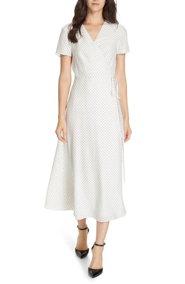 JENNI KAYNE Dot Silk Wrap Dress, Main, color, IVORY/ BLACK