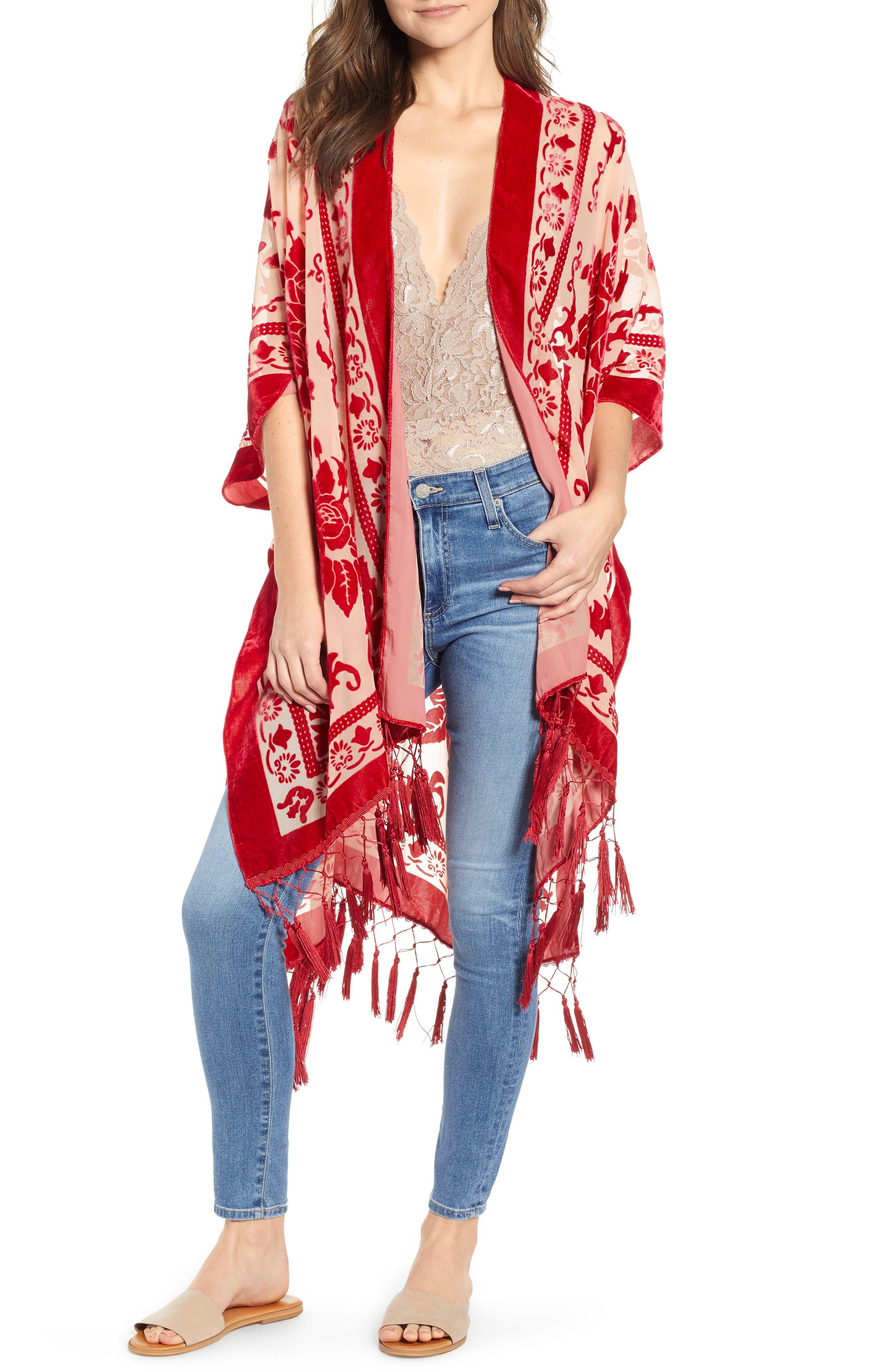 Shawls & Wraps | Vintage Lace & Fur Evening Scarves Womens Free People Nightbird Velvet Duster Size One Size - Red $88.00 AT vintagedancer.com