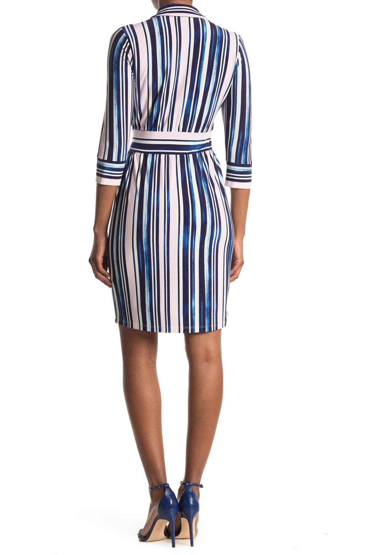 Image of Maggy London Striped 3/4 Sleeve Tie Waist Shirt Dress