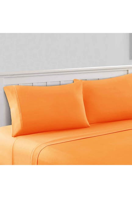 Image of Modern Threads 1800 Series 100 Solid Microfiber 3-Piece Sheet Set Paradise Orange Twin
