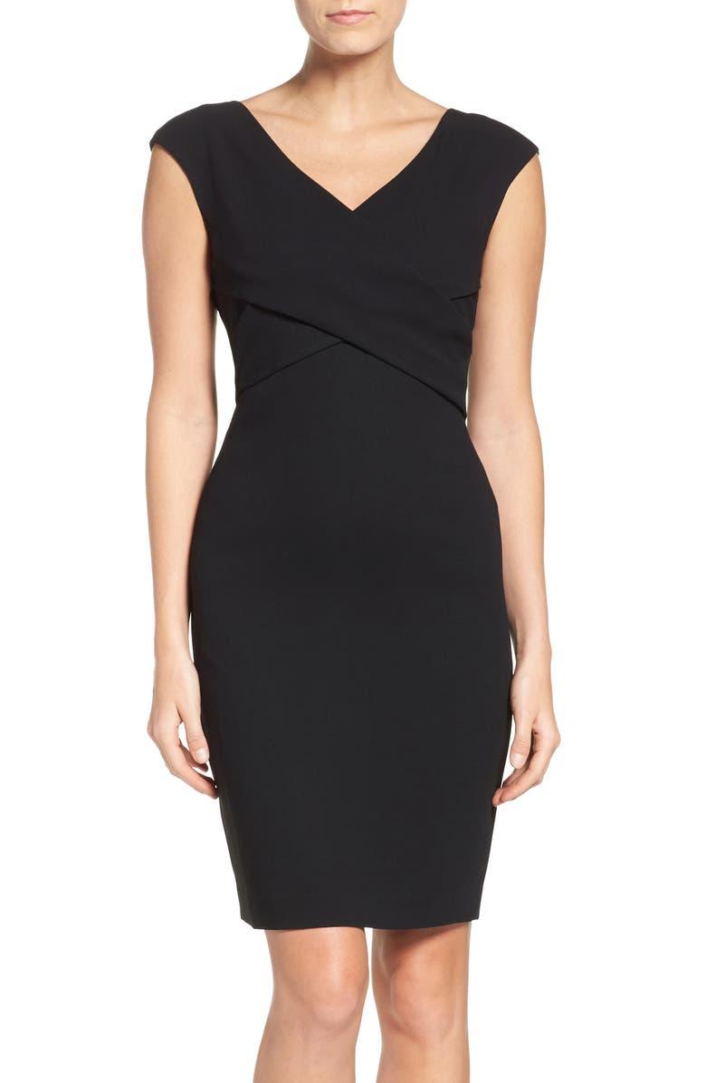 ELIZA J Ponte Sheath Dress, Main, color, 001