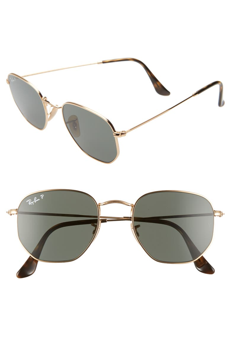 RAY-BAN 51mm Polarized Geometric Sunglasses, Main, color, GOLD/ GREEN POLAR