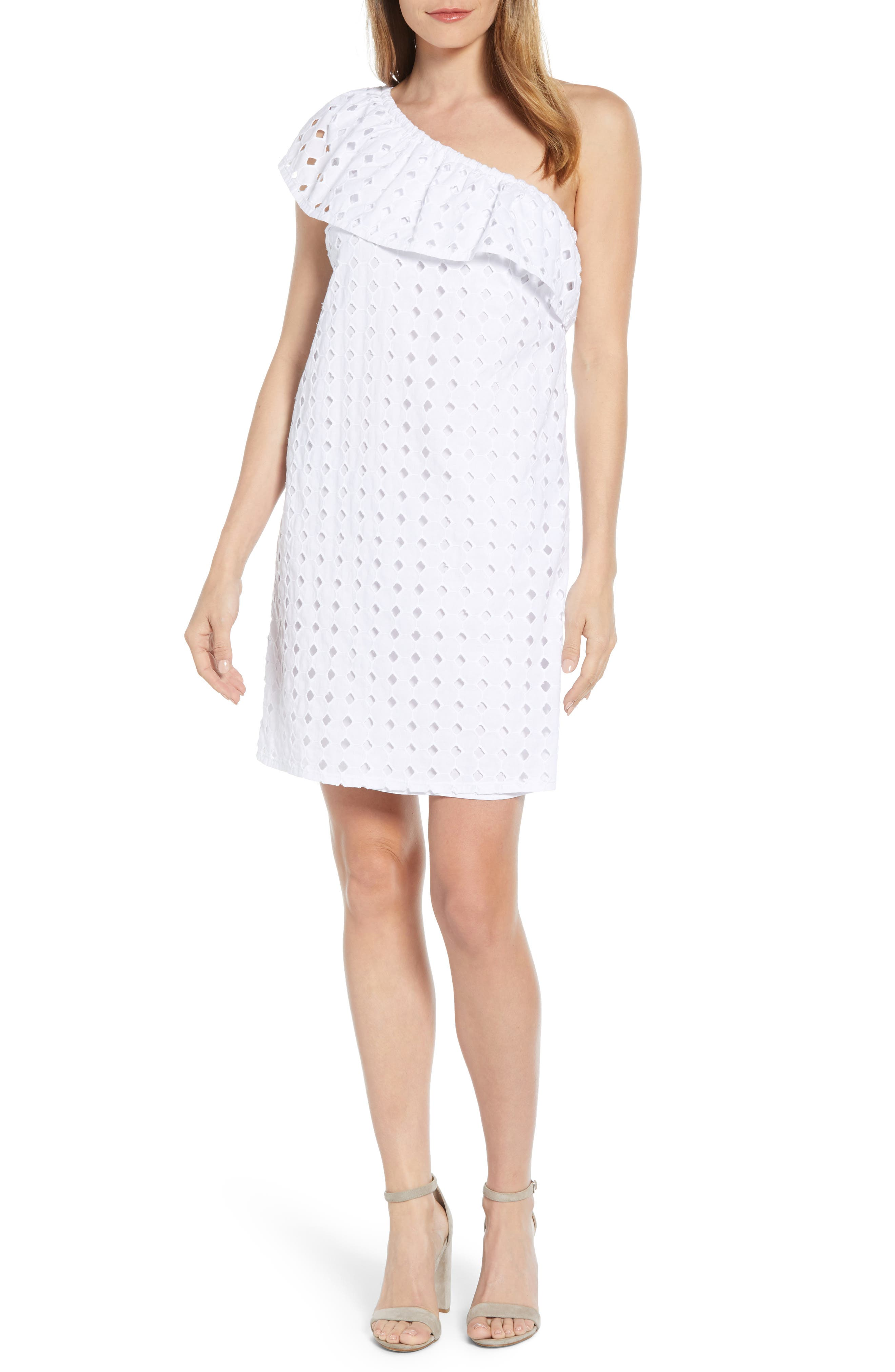 Petite Gibson X Living In Yellow Lily Eyelet One-Shoulder Dress, White (Regular & Petite) (Nordstrom Exclusive)