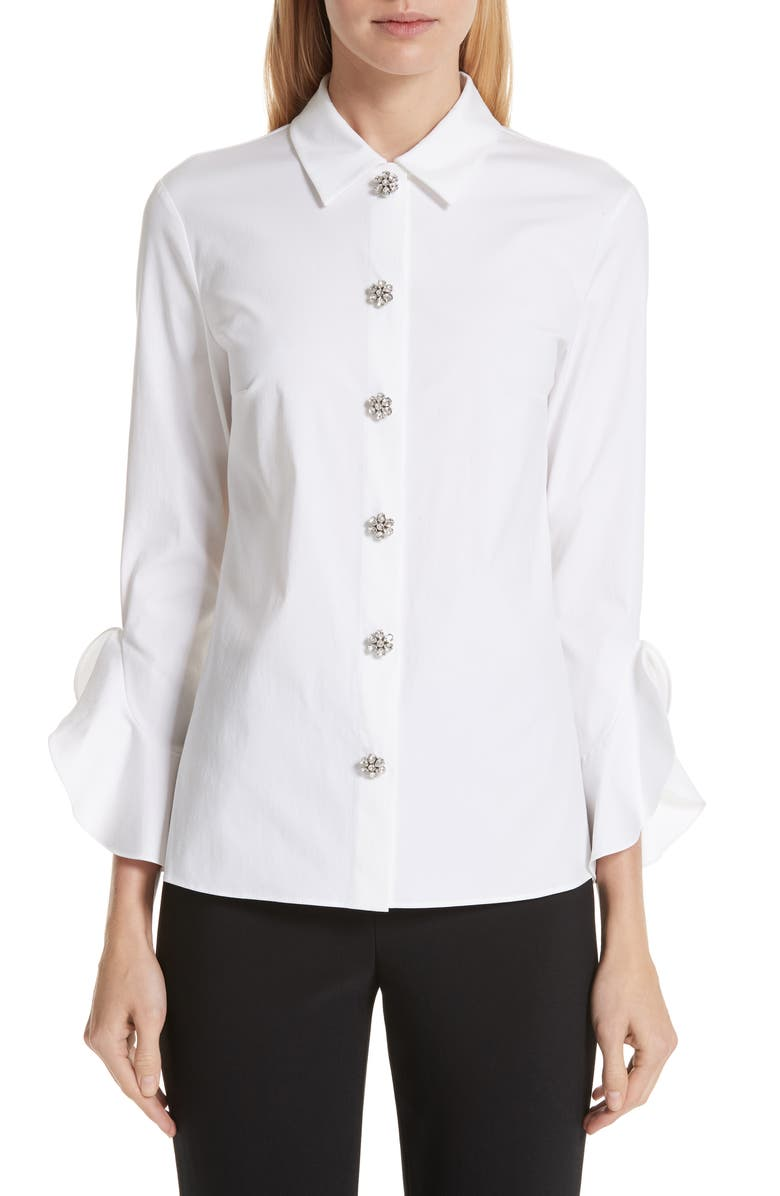 MICHAEL KORS Ruffle Cuff Jeweled Button Blouse, Main, color, 100