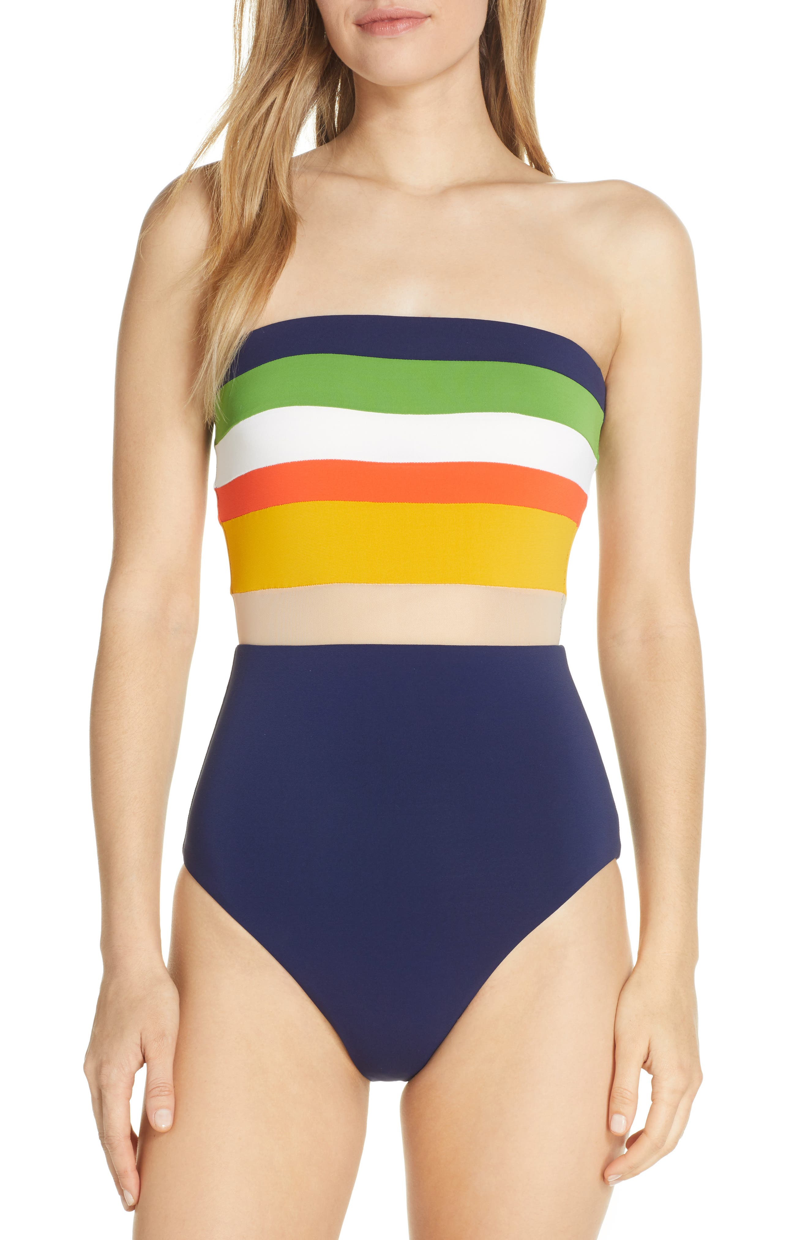Robin Piccone Casey Colorblock Bandeau One-Piece Swimsuit, Blue