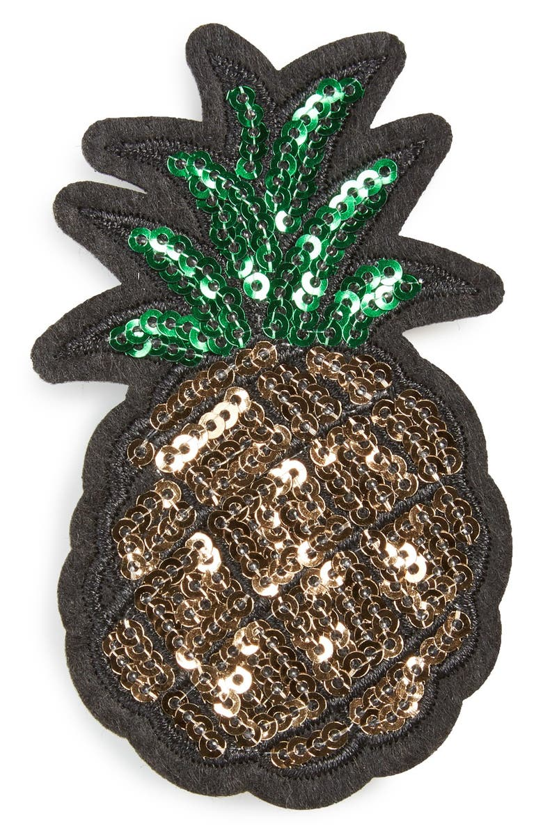 CARA Sequin Pineapple Patch Brooch, Main, color, 710