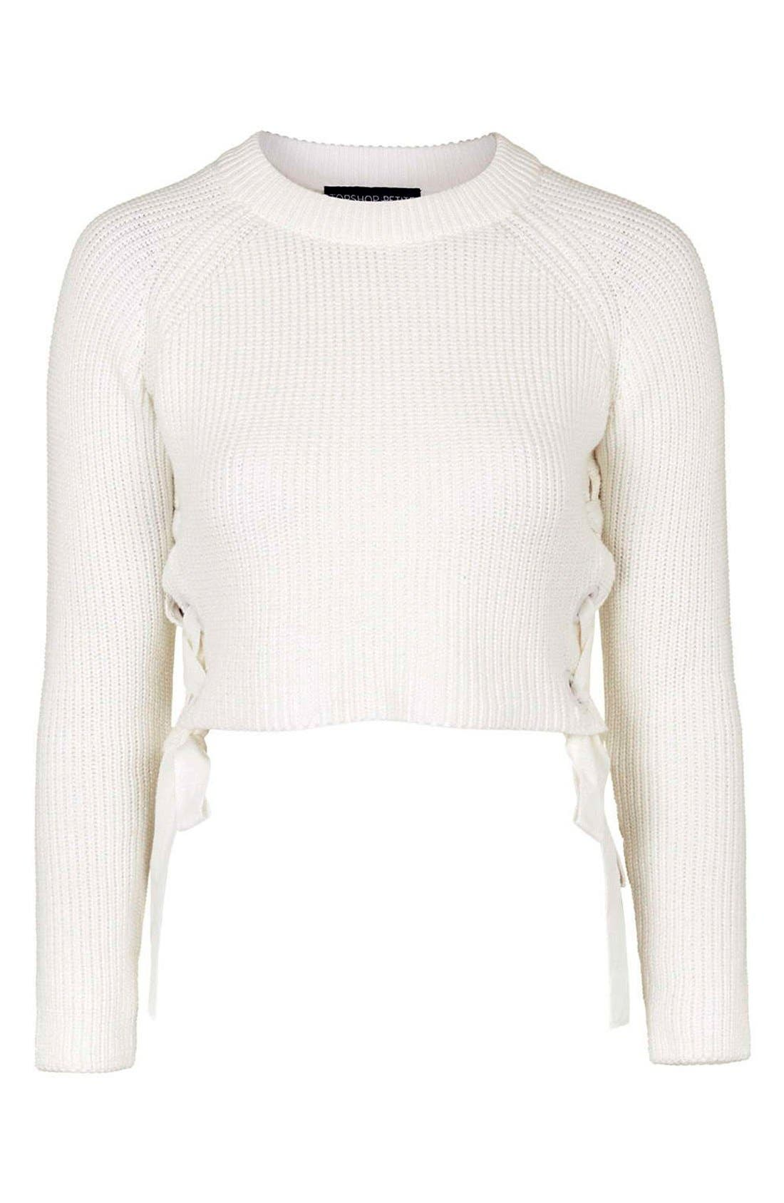 ,                             Side Tie Crop Sweater,                             Alternate thumbnail 8, color,                             900