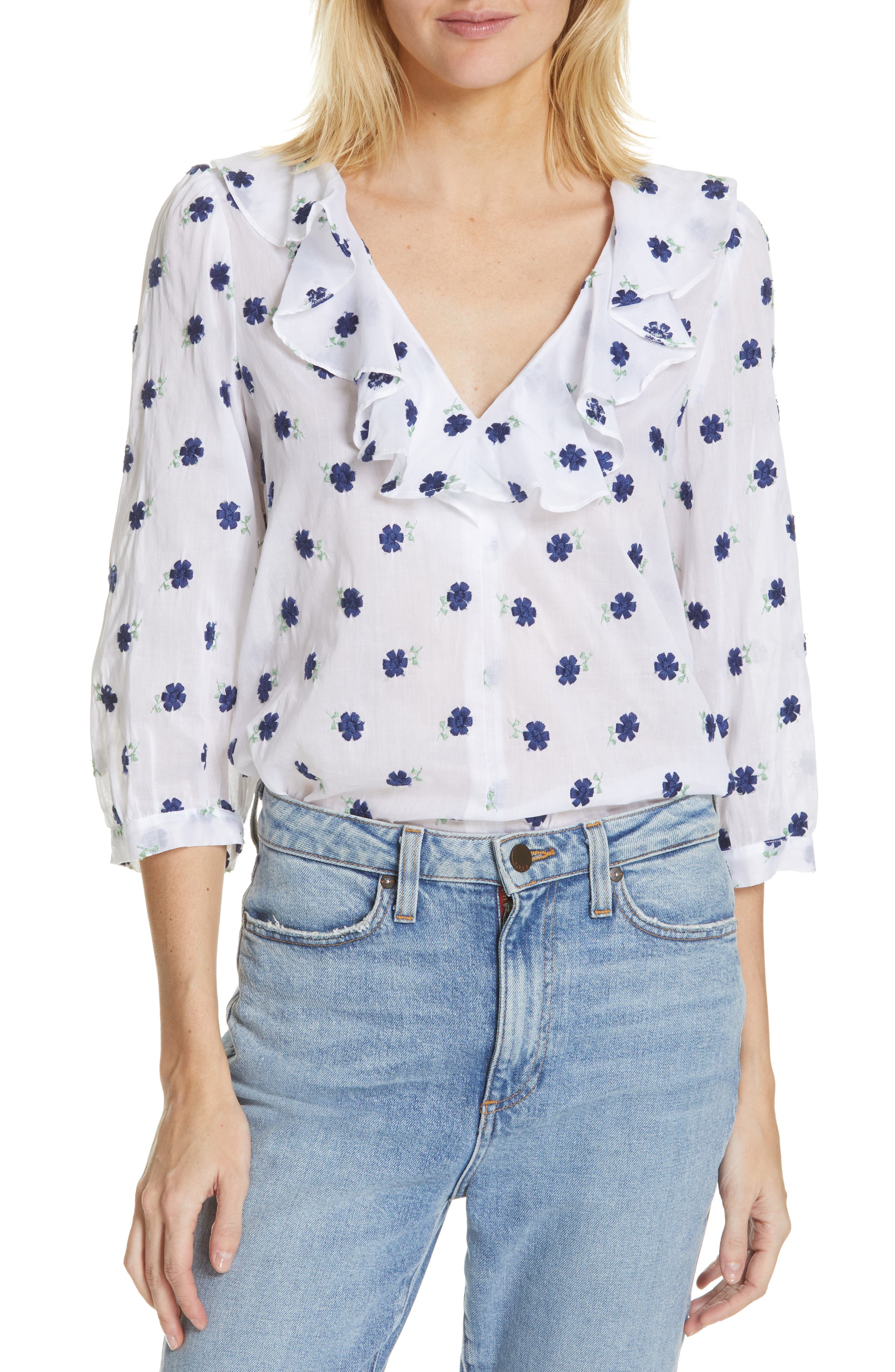 Smythe Tops Over the Head Embroidered Blouse