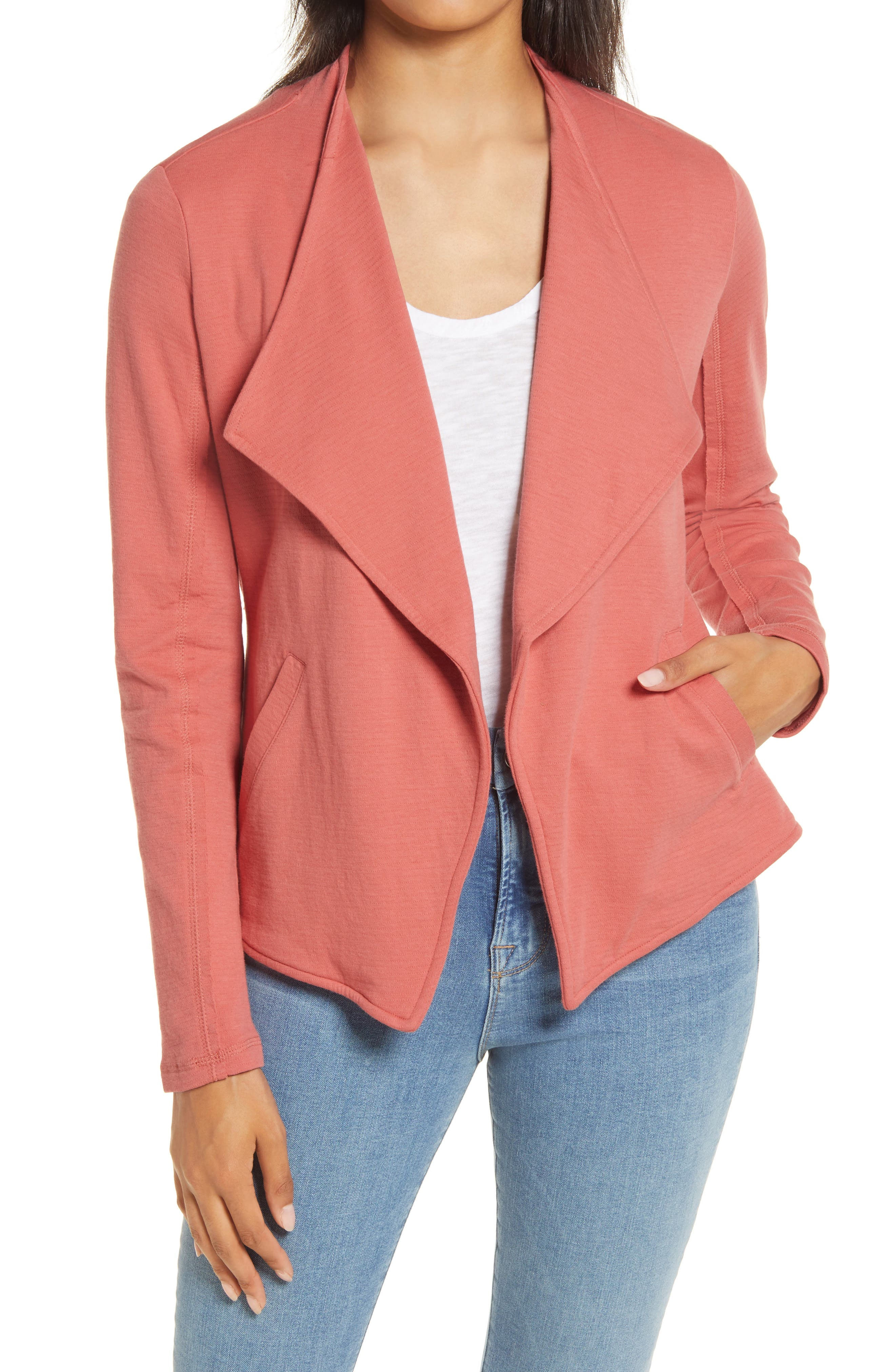 A softer, more casual version of your workday blazer is available in a comfy cotton knit with a drapey wing collar. Style Name: Caslon Drape Collar Knit Blazer (Regular & Petite). Style Number: 5784225 4. Available in stores.