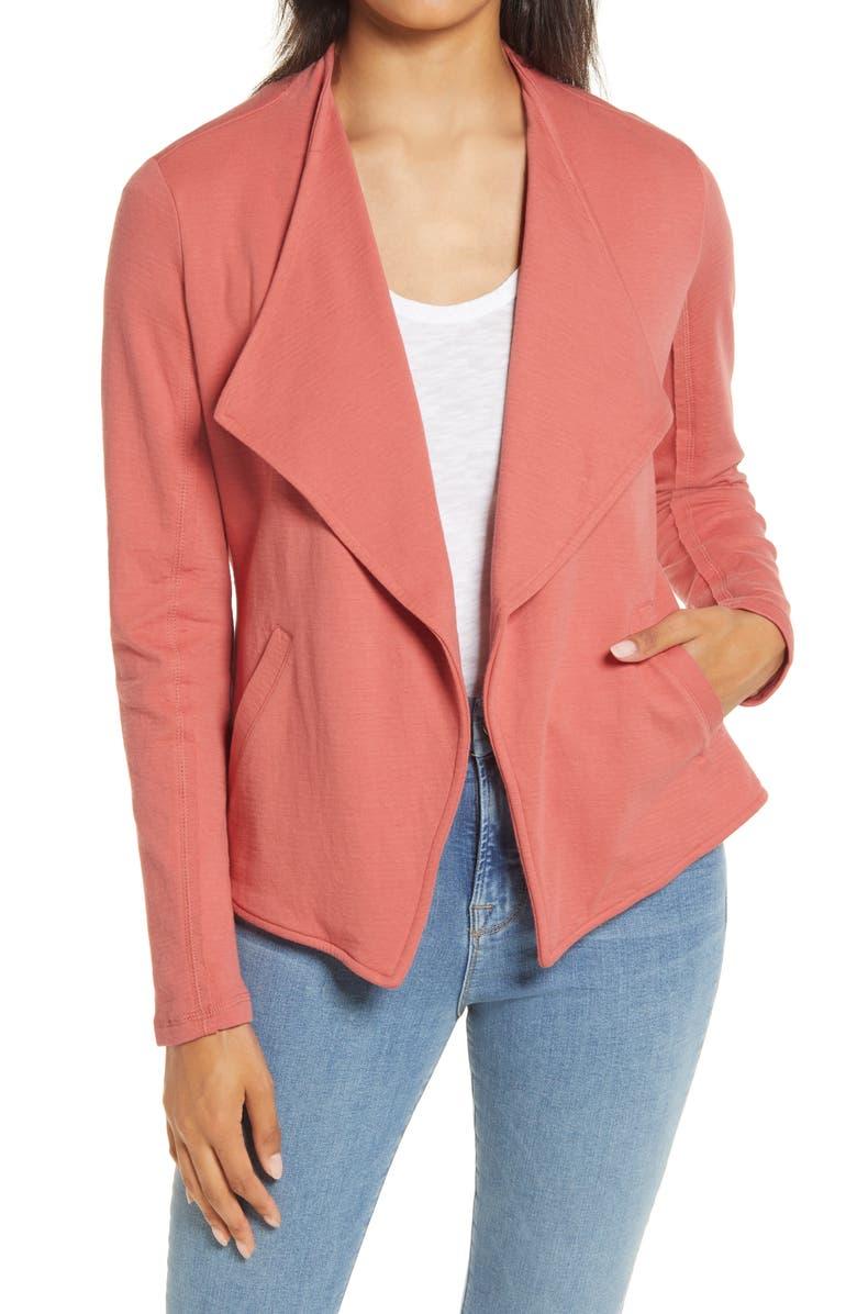 CASLON<SUP>®</SUP> Drape Collar Knit Blazer, Main, color, CORAL FADED