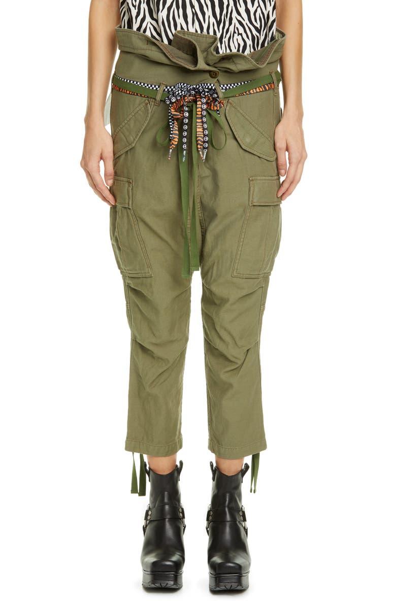 R13 Rolled Waist Drop Crotch Cargo Pants, Main, color, 300