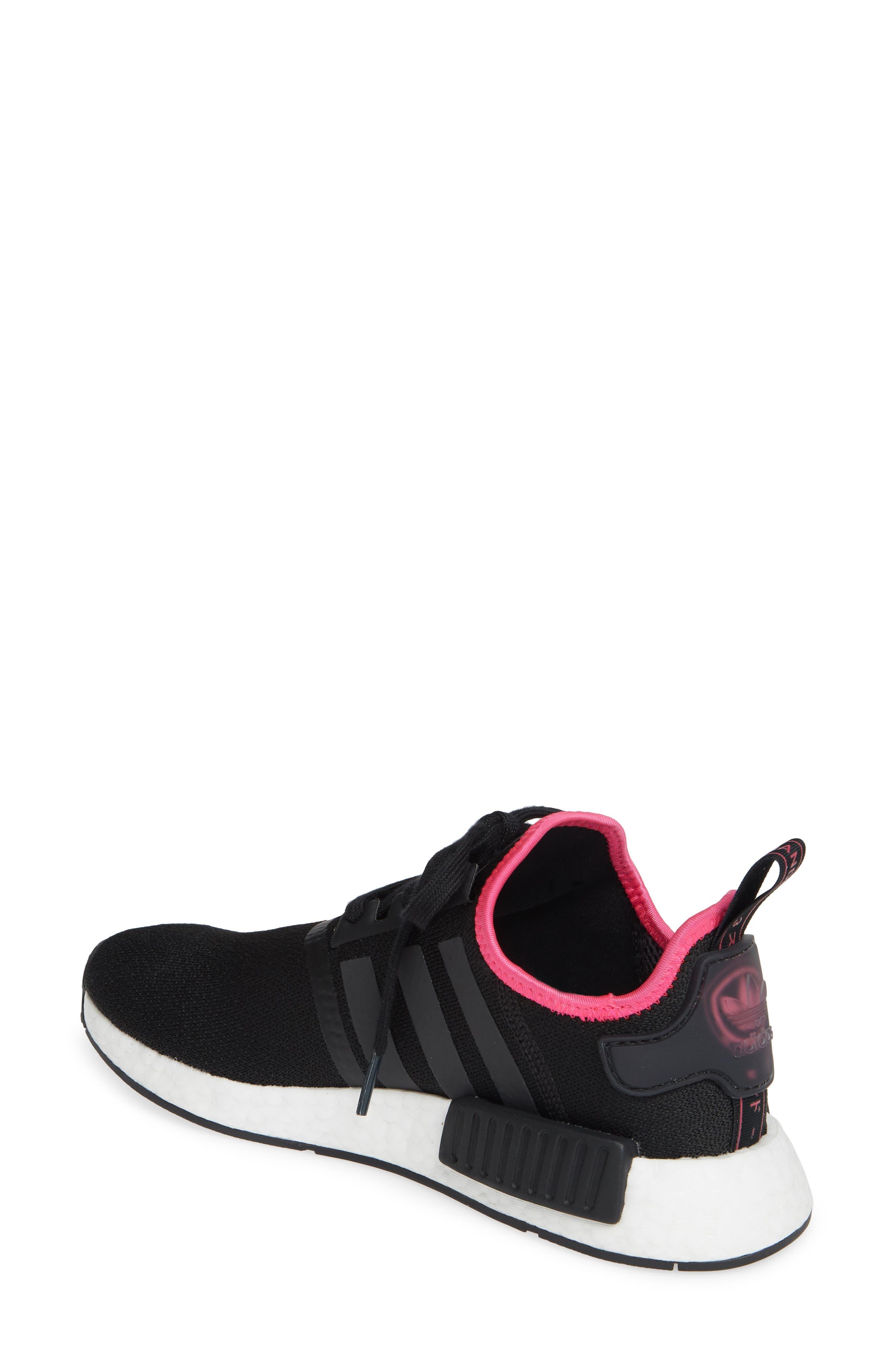,                             NMD R1 Athletic Shoe,                             Alternate thumbnail 2, color,                             CORE BLACK/ SHOCK PINK